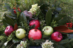 Holiday Fruit Arrangement. Seasonal display of evergreens, apples, grapes, holly, berries, and a pomegranate royalty free stock photo