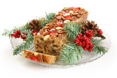 Holiday Fruit Cake Isolated on White Stock Photo
