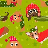 Holiday Fun Dachshund Seamless Tile Royalty Free Stock Image
