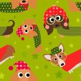 Holiday Fun Dachshund Seamless Tile Royalty Free Stock Image
