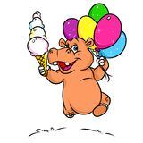 Holiday fun hippo balloons, ice cream Royalty Free Stock Images