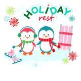 Holiday funny pinguins Royalty Free Stock Photo