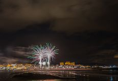 Holiday in the Galician coast. Where at night celebrating the festivities in the town of Foz, spain, we contemplate the fireworks worthy of admiration Royalty Free Stock Photography