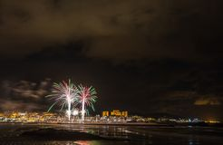 Holiday in the Galician coast. Where at night celebrating the festivities in the town of Foz, spain, we contemplate the fireworks worthy of admiration Royalty Free Stock Photo
