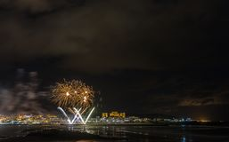 Holiday in the Galician coast. Where at night celebrating the festivities in the town of Foz, spain, we contemplate the fireworks worthy of admiration Royalty Free Stock Images