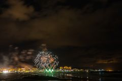 Holiday in the Galician coast. Where at night celebrating the festivities in the town of Foz, spain, we contemplate the fireworks worthy of admiration Stock Photography