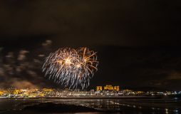 Holiday in the Galician coast. Where at night celebrating the festivities in the town of Foz, spain, we contemplate the fireworks worthy of admiration Royalty Free Stock Image