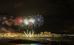 Holiday in the Galician coast. Where at night celebrating the festivities in the town of Foz, spain, we contemplate the fireworks worthy of admiration Royalty Free Stock Photos