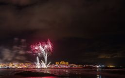 Holiday in the Galician coast. Where at night celebrating the festivities in the town of Foz, spain, we contemplate the fireworks worthy of admiration Stock Photo