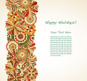 Holiday Garland. A line of retro holiday colored flowers leave large area for text Stock Photos