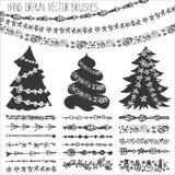Holiday garland brushes.Christmas doodle kit.Black Stock Photography