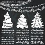 Holiday garland brushes.Christmas doodle kit.Chalk Royalty Free Stock Photo