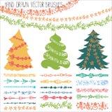 Holiday garland brushes.Christmas doodle kit Royalty Free Stock Images