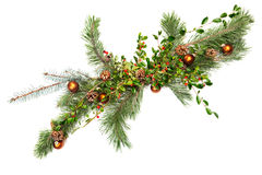 Holiday garland ornaments. Holiday garland with ornaments, pine & spruce branches, pine cones and evergreen with berries (Common Bearberry/Kinnikinnick royalty free stock photography