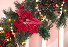 Holiday garland of pine, berries and pearls Stock Photography
