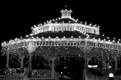 Holiday Gazebo Lights in B/W Royalty Free Stock Images