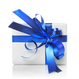 Holiday gift with blue ribbon isolated Royalty Free Stock Photo
