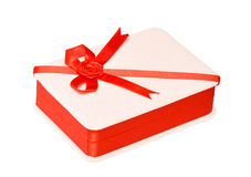 Holiday gift box decorated with ribbon Royalty Free Stock Photo