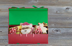 Holiday Gift Box filled with Sweets Royalty Free Stock Photography