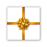 Holiday gift box with golden ribbon and bow. Template for a business card, banner, poster, flyer, notebook, invitation Royalty Free Stock Photos