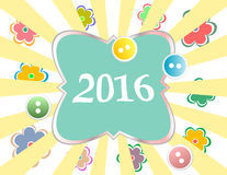 Holiday gift box with 2016 New Year greeting card Stock Images