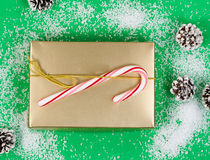 Holiday gift box on snowy green background Stock Photography