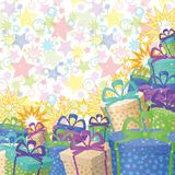 Holiday gift boxes, background. Holiday background with a pattern of festive gift boxes and stars. Eps10, contains transparencies Stock Images