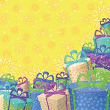 Holiday gift boxes, background. Holiday background with a pattern of festive gift boxes and stars Royalty Free Stock Images