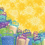 Holiday gift boxes, background. Holiday background with a pattern of festive gift boxes and stars Stock Photography