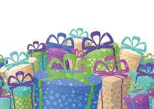 Holiday gift boxes, background. Holiday seamless background, festive gift boxes and star Royalty Free Stock Photography