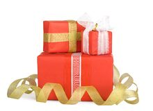 Holiday gift boxes decorated with bows Stock Photo
