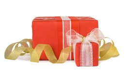 Holiday gift boxes decorated with bows Stock Images