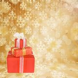 Holiday gift boxes decorated with bows and ribbons Royalty Free Stock Image