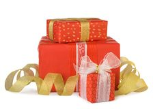 Holiday gift boxes decorated with bows and ribbons Stock Image