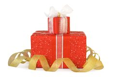Holiday gift boxes decorated with bows and ribbons Royalty Free Stock Images