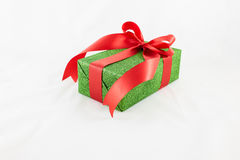 Holiday gift boxes decorated with ribbon  on white. Background Stock Photography