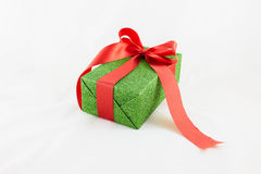 Holiday gift boxes decorated with ribbon  on white. Background Royalty Free Stock Image