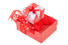 Holiday gift boxes Royalty Free Stock Images