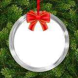 Holiday gift card with Christmas ball, bow and fir tree branches Stock Photo
