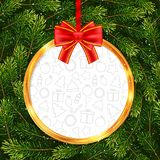Holiday gift card with Christmas ball and fir tree branches. Vector illustration for your design Stock Photography