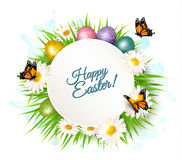 Holiday gift card with easter eggs and daisies. Royalty Free Stock Photo