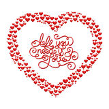 Holiday gift card with hand lettering All you need is Love and hearts Stock Photography