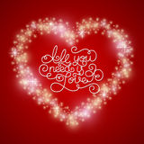 Holiday gift card with hand lettering All you need is Love and hearts. Royalty Free Stock Images