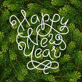 Holiday gift card with hand lettering Happy New Year on Christmas fir tree branches background. Vector illustration for your design Stock Photography
