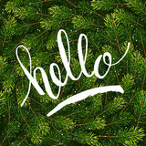 Holiday gift card with hand lettering hello on Christmas fir tree branches background Royalty Free Stock Photography