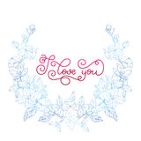 Holiday gift card with hand lettering I love you and bloom Stock Photo