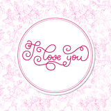 Holiday gift card with hand lettering I love you and bloom Stock Image
