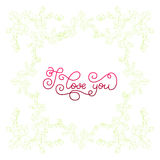Holiday gift card with hand lettering I love you and bloom Royalty Free Stock Images