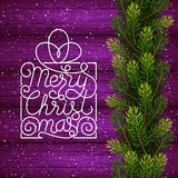 Holiday gift card with hand lettering Merry Christmas and Christmas borders from fir tree branches on wood background. Vector illustration for your design Royalty Free Stock Photos