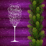 Holiday gift card with hand lettering Merry Christmas and Happy New Year in the form of a glass of champagne and Stock Image